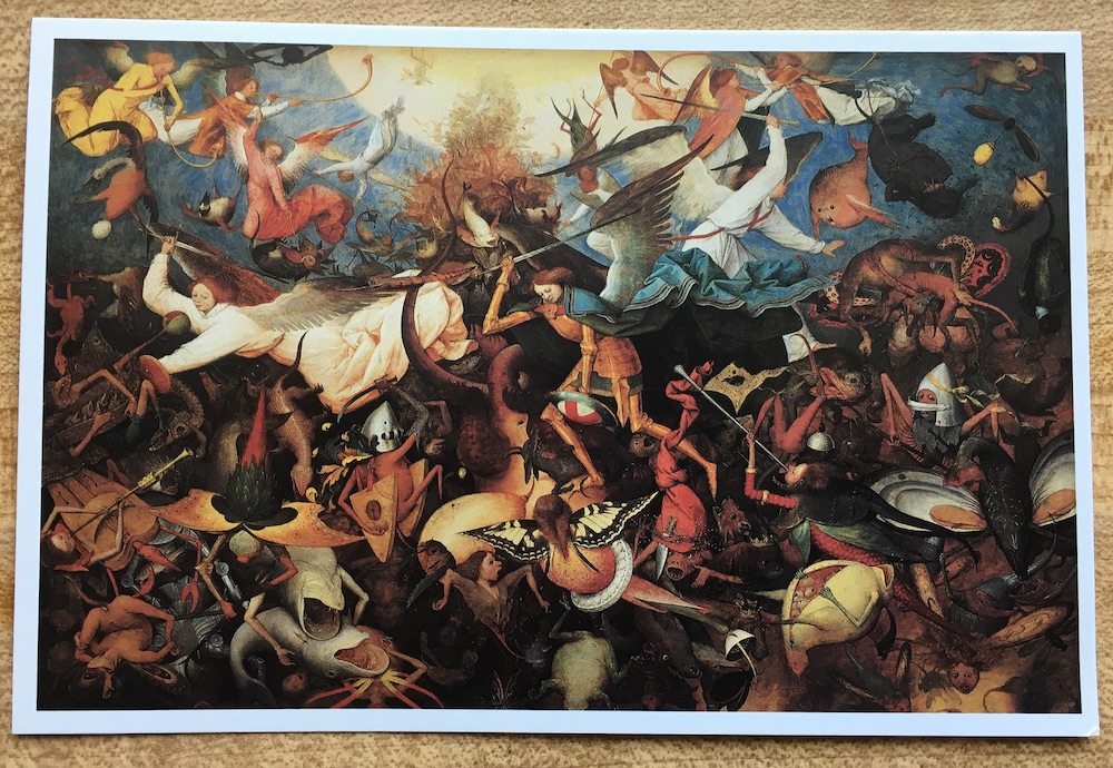A photo of a postcard containing Pieter Bruegel's painting: The Fall of the Rebel Angels
